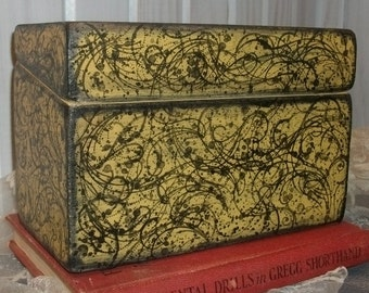 Recipe Box with Flourish and Flare  Distressed  Primitive Cottage Chic and Elegant  Mustard Yellow