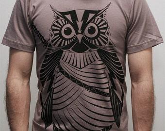 Samurai Owl - Mens t shirt   -  ( Owl shirt , Mens Owl T shirt)