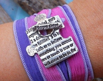 Memorial Jewelry, HOPE Silk Wrap Bracelet, Inspirational Quote Silver Wrap Bracelet, In Memory Of Inspirational Gift, Commemorative Gift