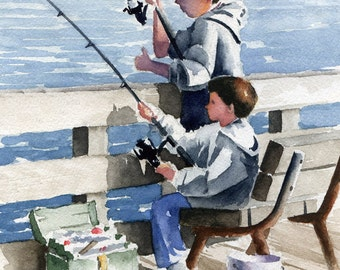 BROTHERS FISHING Art Print Signed by Watercolor Artist D J Rogers