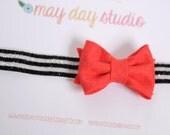SALE newborn baby toddler girls felt bow headband - fire red felt bow on black and white stripe glitter elastic headband, hair bow