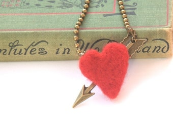 Valentine gift for her Felted red heart Cupid arrow necklace Valentine's jewelry felted wool bronze charm pendant Weddings Birthday love