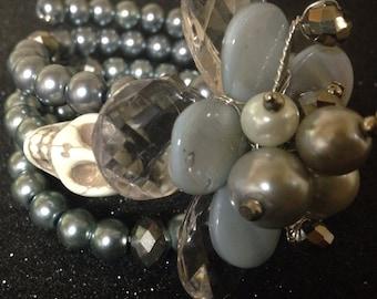 Rockabilly Silver Day of the Dead Gemstone Bracelet - Every Design Tells A Story
