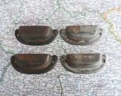 4 vintage very distressed and rusty metal bin pull handles