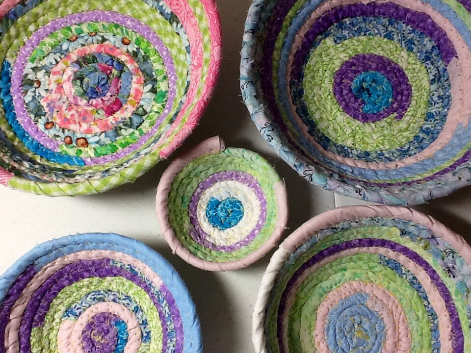 Handmade Cotton Baskets : Handmade coiled fabric cotton baskets or bowls turquoise