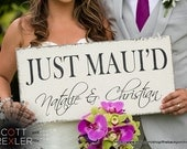 JUST MAUI'D, Wedding Signs, Mr. & Mrs. Signs, Bride and Groom Signs, Personalized Wedding Signs, 24 x 12