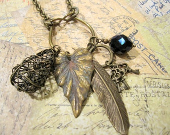 OOAK Charm Necklace, Nature Inspired, Skeleton Key, Feather, One of a Kind, Leaves, Midnight Blue, Vintage Inspired, Woodland Inspired
