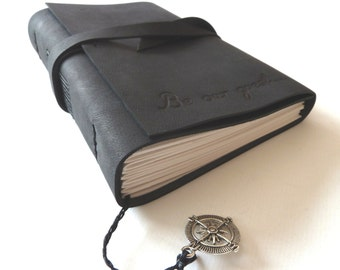 Personalised Leather Journal, Black