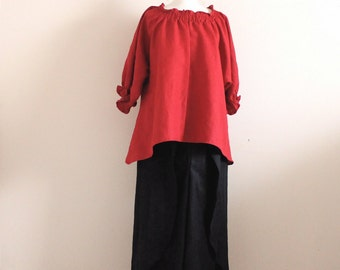 linen outfit relaxed shirring top  with leafy pants  handmade to measure petite to plus size