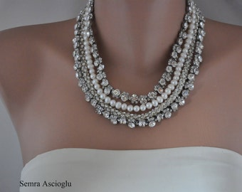 4 strands Rhinestone and Freshwater Pearl Necklace ,Brides Jewelries ,Statement Necklace,Flower Rhinestone Necklace,Layered Pearl Necklace