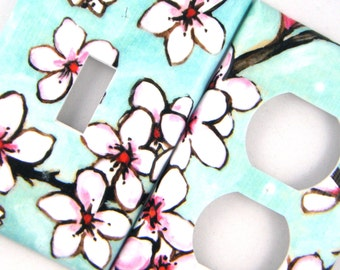 Light Switch Cover Outlet Cover Switchplate -- Watercolor Cherry Blossoms