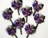 RESERVED for Tiffany, 14 Purple and Black Wedding Boutonnieres