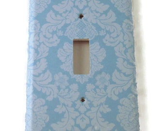 Light Switch Cover  Switchplate Switch Plate in  Baby Blue Damask  (194S)
