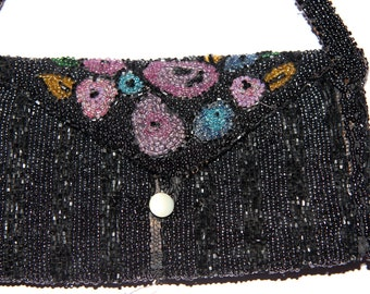 Antique Glass Beaded Small Purse Hand Made In Belgium