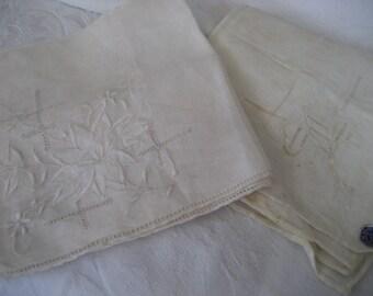 2 VINTAGE Applique Embroidered & Cutwork White Handkerchiefs