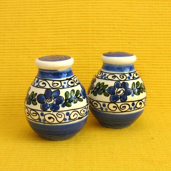 Blue Flowered Salt and Pepper Shakers
