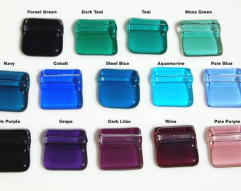 Translucent Square Fused Glass Pendant: 14 Colors to Choose From