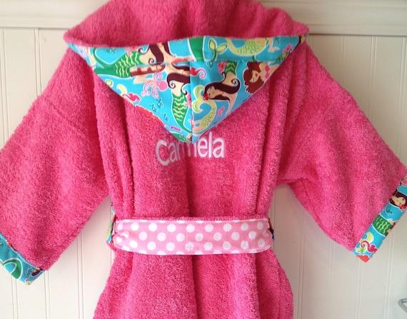 Child Robes-Girl-Girl-Kids-bath-Robe-Pink-Mermaid-Nautical-Bathrobes-Childrens-Sleepwear-Beach-Hooded-Swim-Suit-Terry-Cover Up