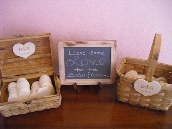 Wedding GUEST BOOK ALTERNATIVE Rustic Wood Set with Chalkboard and Easel with Basket - Large Set - Item 1034