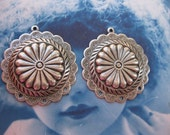 Silver Ox Plated  Concho Scalloped Round Floral Medallions  472SOX x2