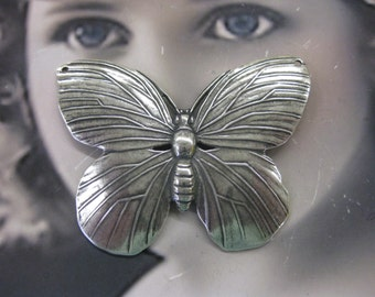 Sterling Silver Ox Plated Butterfly Stamping 329SOX x1