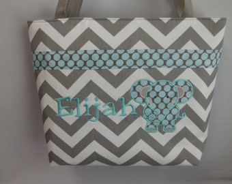 CHEVRON  in Gray   ..Elephant  Design  ...  TOTE ...  Diaper Bag ... Monogrammed  FReE