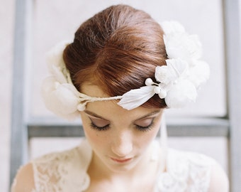 Wedding silk flower crown ribbon bridal veil - Style no. 1957 Hearts Affection