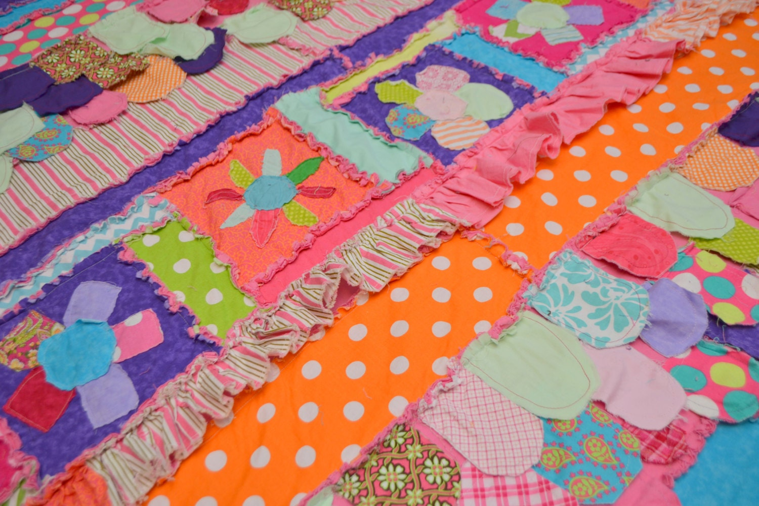 Custom Twin Size RAG QUILT with Ruffles & by avisiontoremember