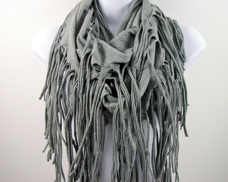 light gray fringe t shirt scarf grey fringe by looptheloop. Black Bedroom Furniture Sets. Home Design Ideas