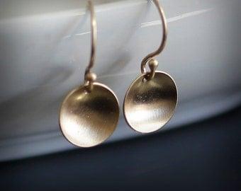 Tiny 14K Gold Saucer Earrings