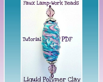 Tutorial- polymer clay Liquid clay Tutorial-  Faux Lampwork Focal Beads- Jewelry Tutorial