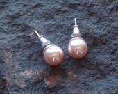 Vintage Pink tone Glass Pearl Stud Earrings