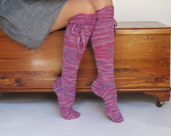 Knee High Socks Very Berry Pink lace merino with ties hand knit