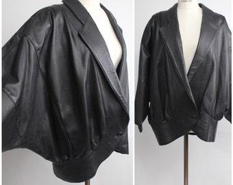 Vintage Baldini Extreme Batwing Jacket | Avant Garde Leather Coat | Kimono Sleeve Jacket | S-M