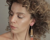 Tan and orange recycled leather statement earrings long