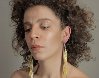 wallpaper earrings long metallic yellow and gold