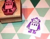 Robot rubber stamp - hand carved
