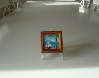 Miniature Tropical Sailboat Painting Artist Signed Jocelyn - Cottage Chic - EnglishPreserves