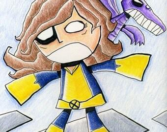 Kitty Pryde Lockheed Art Print X-Men Illustration