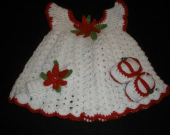 Baby Crochet Pinafore Set- Shimmering White with Sparkling Poinsettia Accents