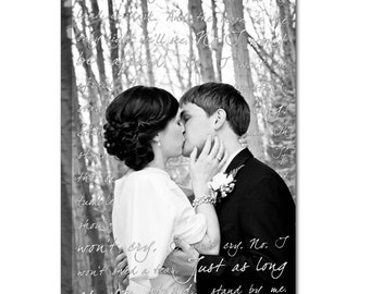 Personalized Photo Canvas Art Gift Photos love letters, Your words Wedding Canvas , Your art 18X24