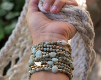 Peruvian Blue Opal and Gold Wrap Bracelet