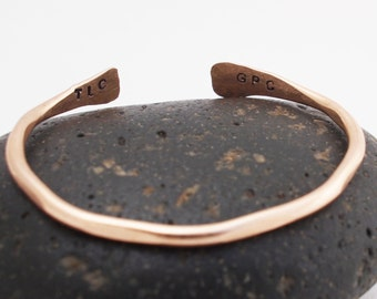 Bronze Mother's Cuff / Bronze Bangle / Personalized with Initials