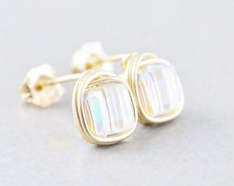 Crystal Square Studs, Crystal Cube Posts, Bridesmaid Earrings, Arora Borialis