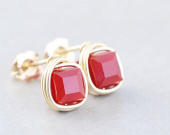Red Cube Studs, Square Post Earrings, Swarovski Crystal Posts, Handmade