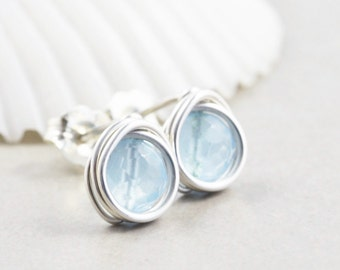 Blue Studs, Quartz Posts, Powder Blue Studs, Bridesmaid Gift