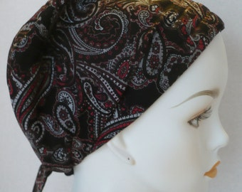 Black Red Paisley Chemo Cancer Hair Loss Scarf Turban Hat Bad Hair Day Headcover Hairwrap