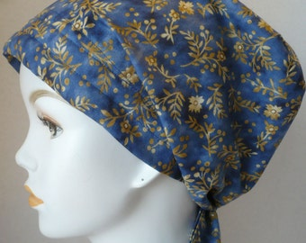 Country Blue Floral Hair Loss Cancer Hat Cap Head Wrap - Perfect for wearing with jeans