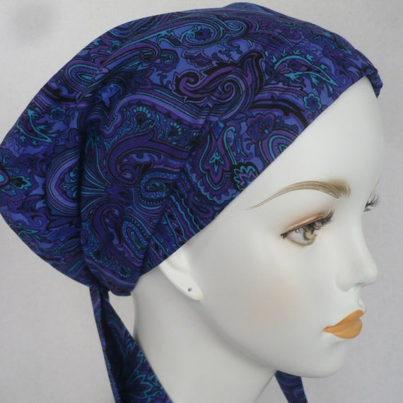 blue paisley cancer chemo hat scarves wrap alopecia