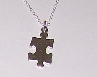 Sterling PUZZLE PIECE Pendant with Chain - Game, Autism Awareness